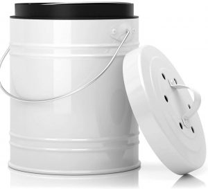 5 Liter Kitchen Compost Bin with Charcoal Filter White